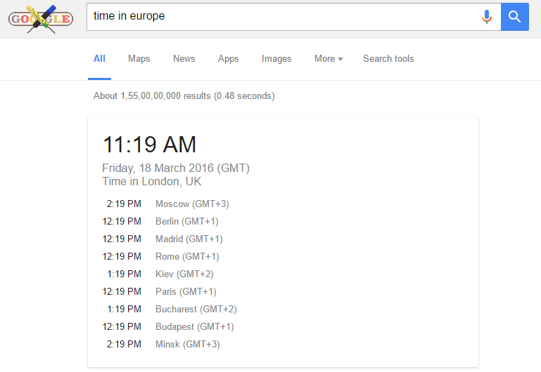 check international timing using google