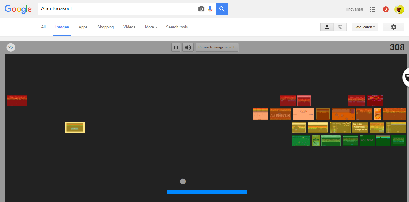 Play Atari Breakout in google