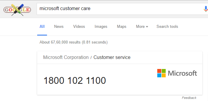 find customer service number using google