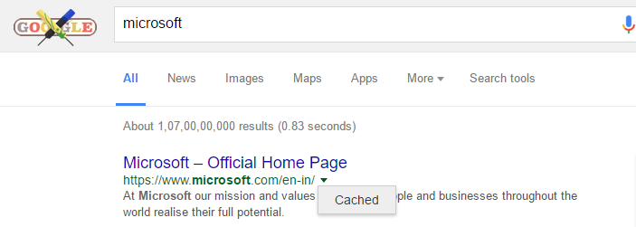 check cached page in google