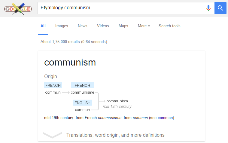 Etymology in google