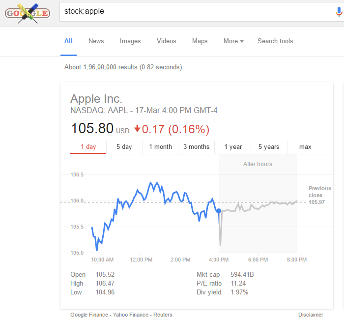 follow stocks in google