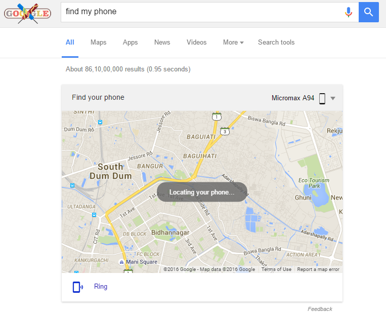 find your phone using google