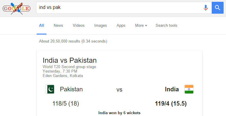 get cricket update in google