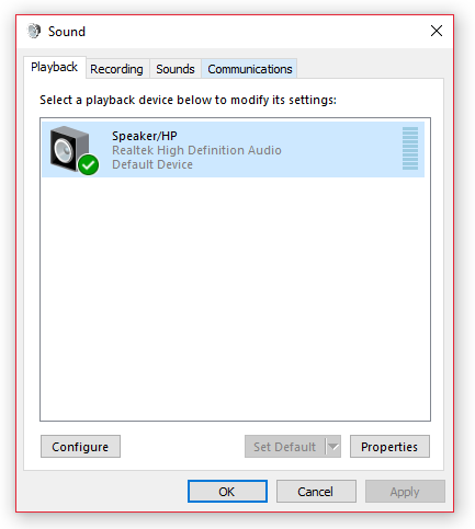 sound setting in windows 10