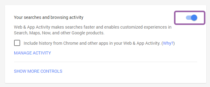 pause google web or app history