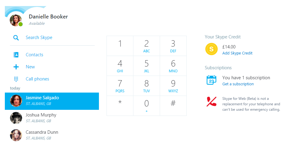 how to use skype for web for making calls