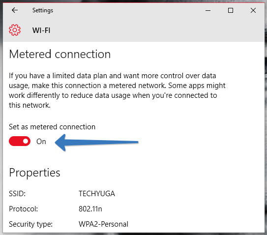 metered connection in windows 10