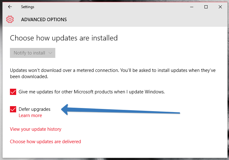 defer upgrades in windows 10