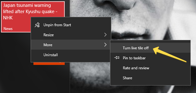 turn off live tiles in windows 10