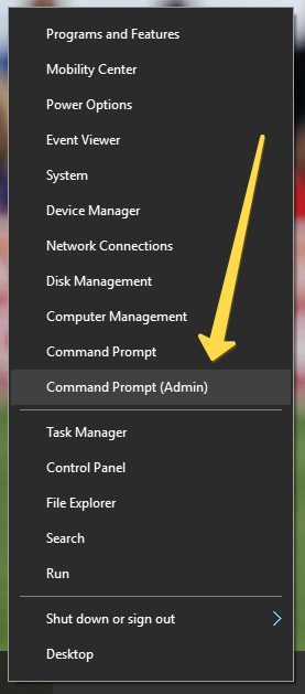 cmd admin in windows 10