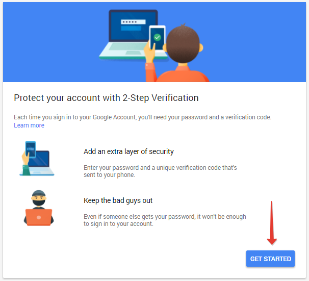 enable 2-step authentication in gmail