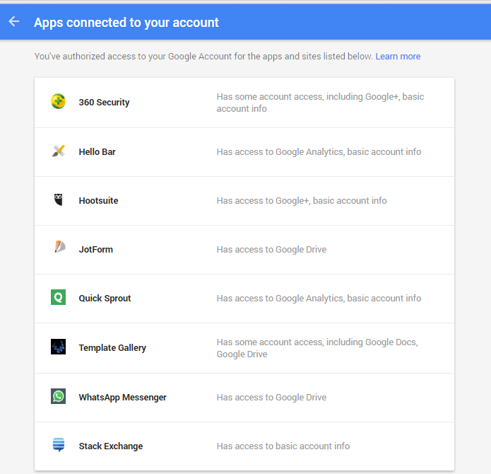 Apps connected to your gmail account