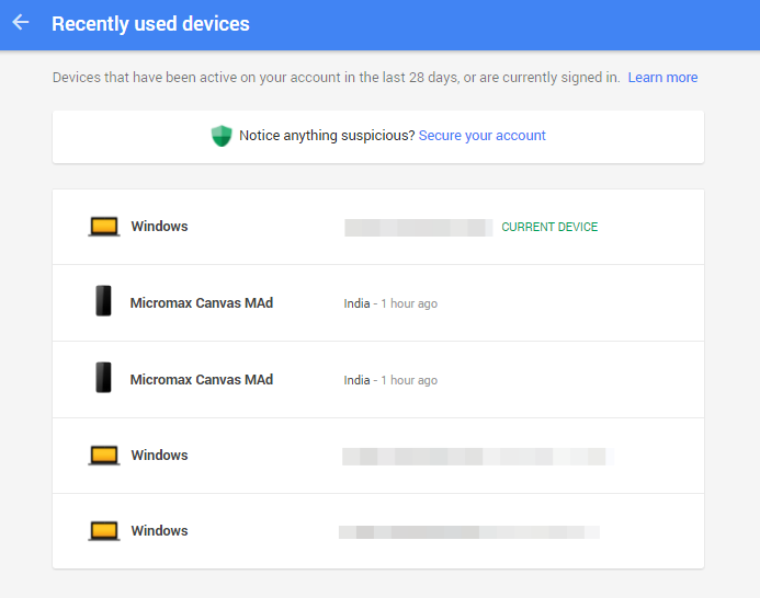 View your recent Google account activity