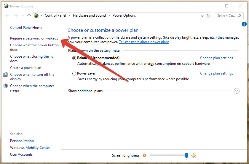 Require a password on wakeup option in windows 10