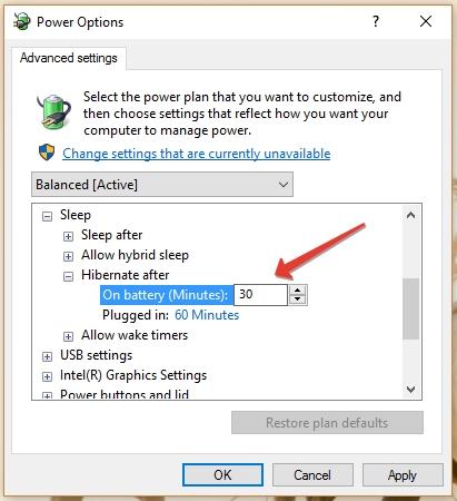 hibernate timer option in windows 10