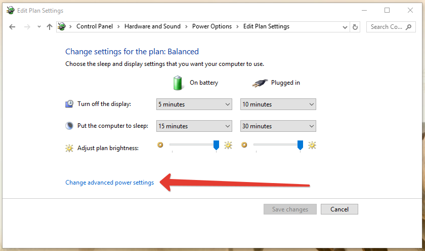 advanced power settings in windows 10