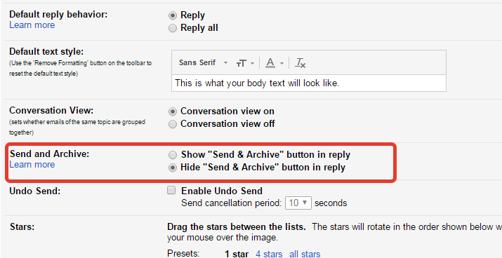 send and archive button of gmail