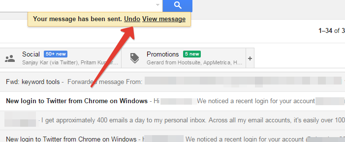 Undo option in gmail