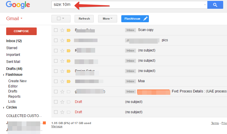 size search in gmail