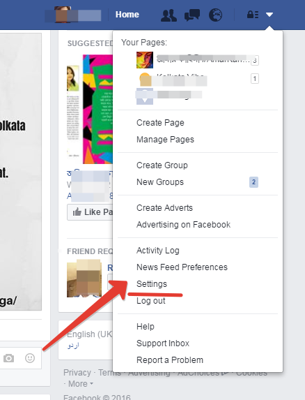 fb settings dropdown menu