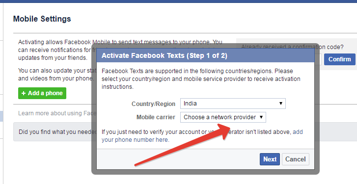 adding mobile career in facebook