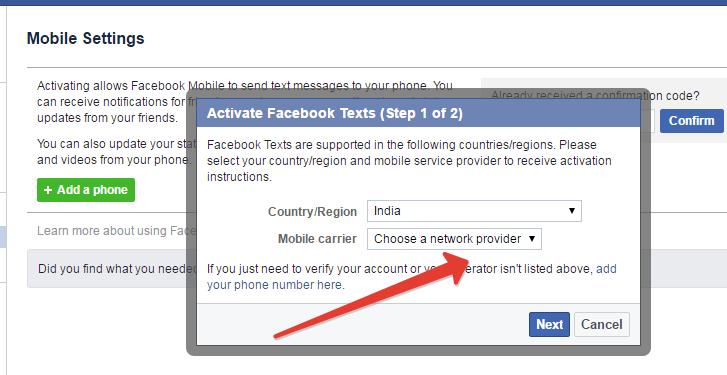 adding mobile career in facebook