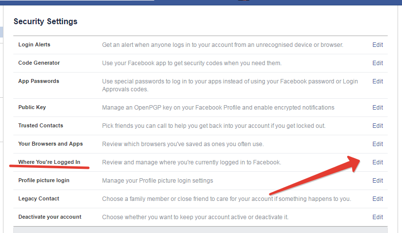 facebook active session settings