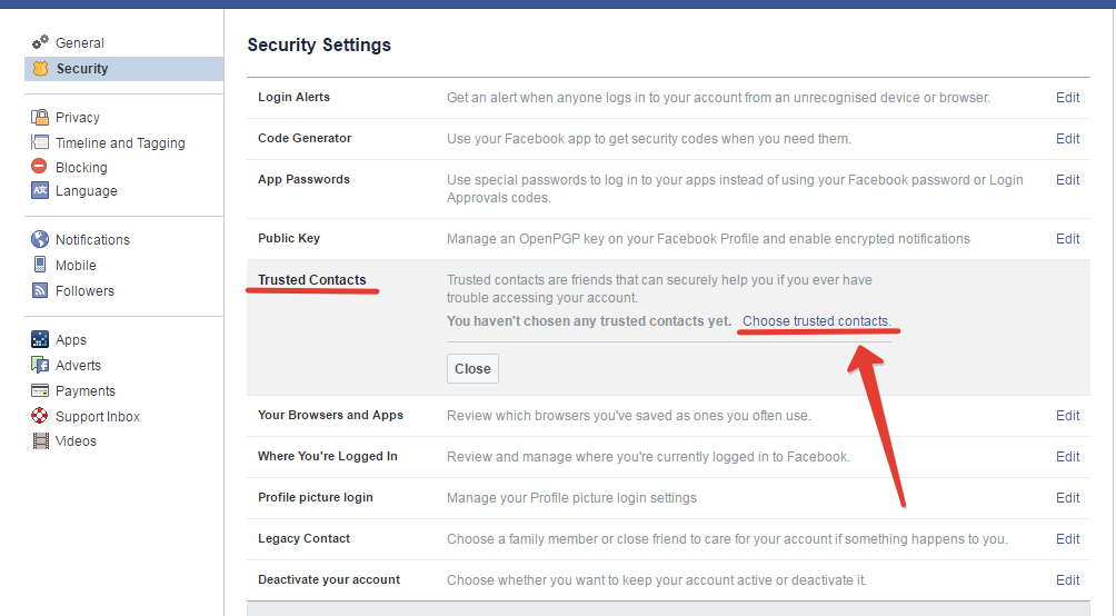 Trusted contacts uploading in facebook