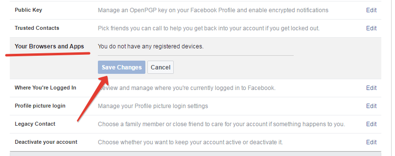 Facebook app and browser settings