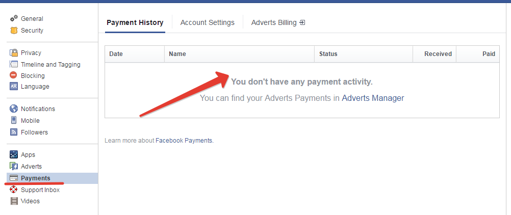 account purchases in facebook