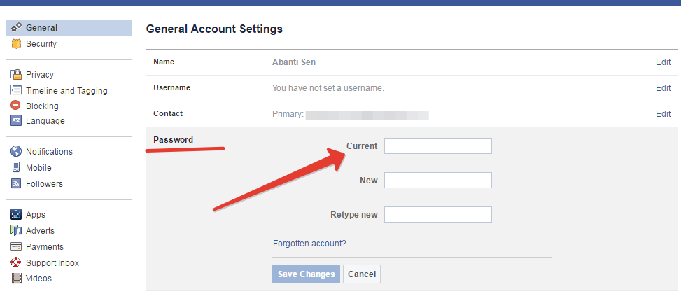 Changing fb password