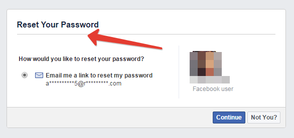 Recovering forgotten password in Facebook