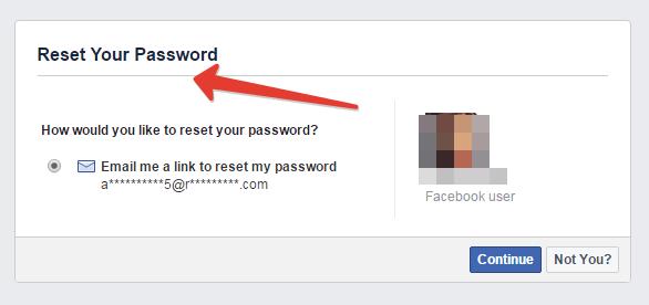 Recovering forgotten password in Facebook