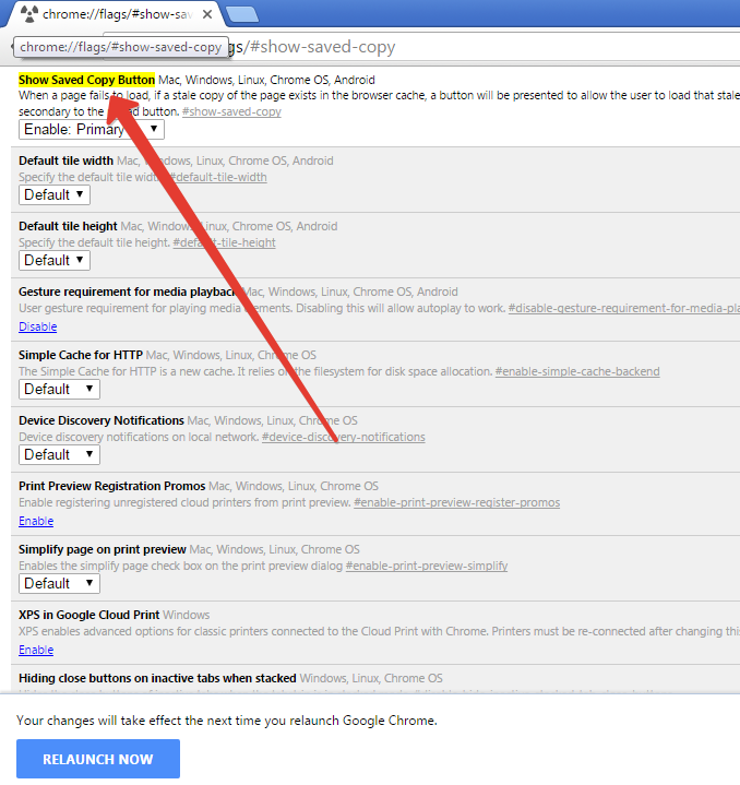 Offline settings in Chrome