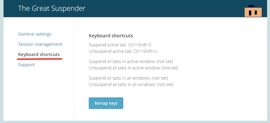 Great suspender keyboard shortcuts