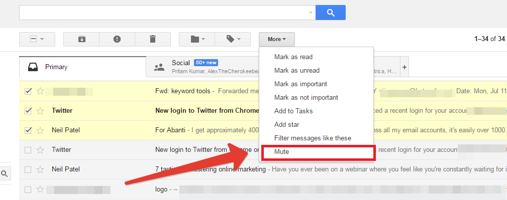 Mute threads in gmail