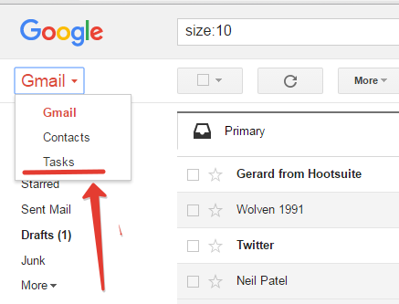 Task menu in gmail