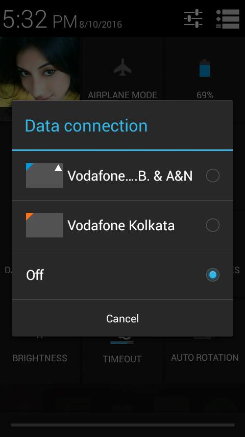 Data turn Off button in android