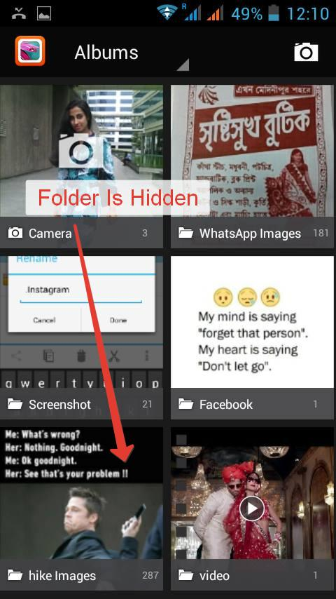 Hidden Folder in gallery with dot at the beginning
