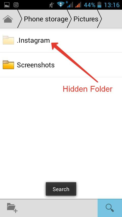 Hidden folder in android File Manager