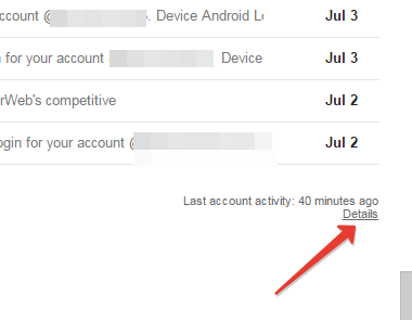 Account activity in gmail