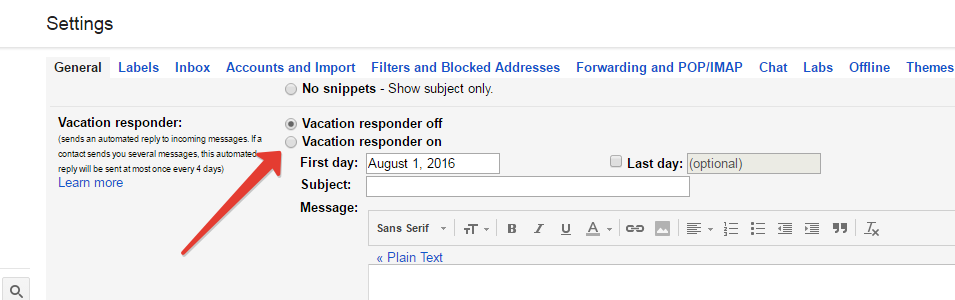 Vacation responder in gmail