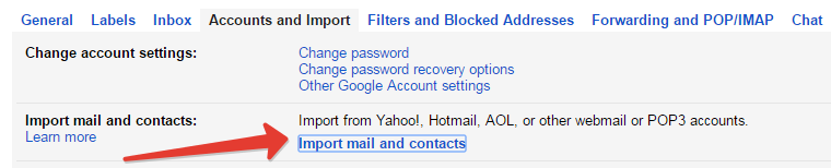 Import contacts in gmail account