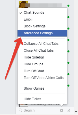 Advanced chat settings in facebook