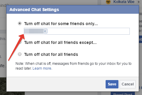 Facebook turn off chat for a friend settings