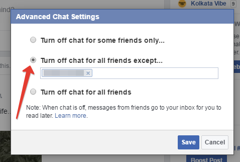 Facebook turn off chat for all friends accept
