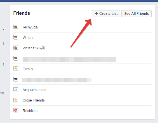 Create list button in facebook
