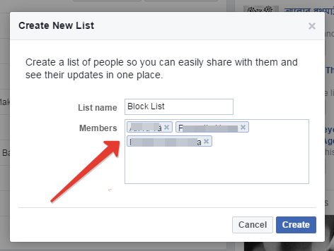 Creating list in facebook