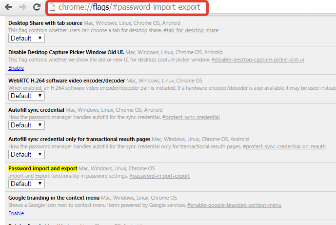 google chrome password export and import